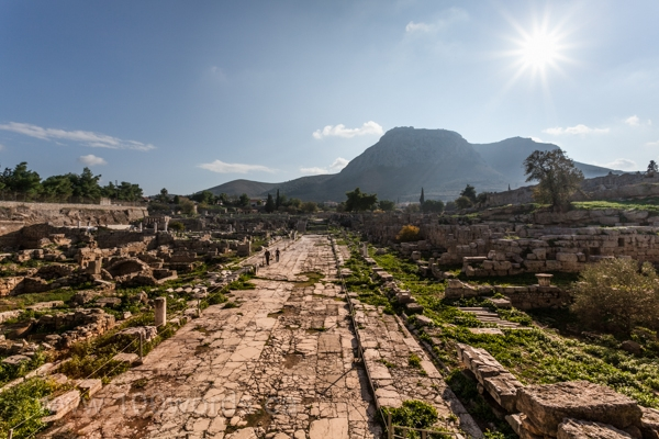 Ruins of a main street in Ancient Corinth.