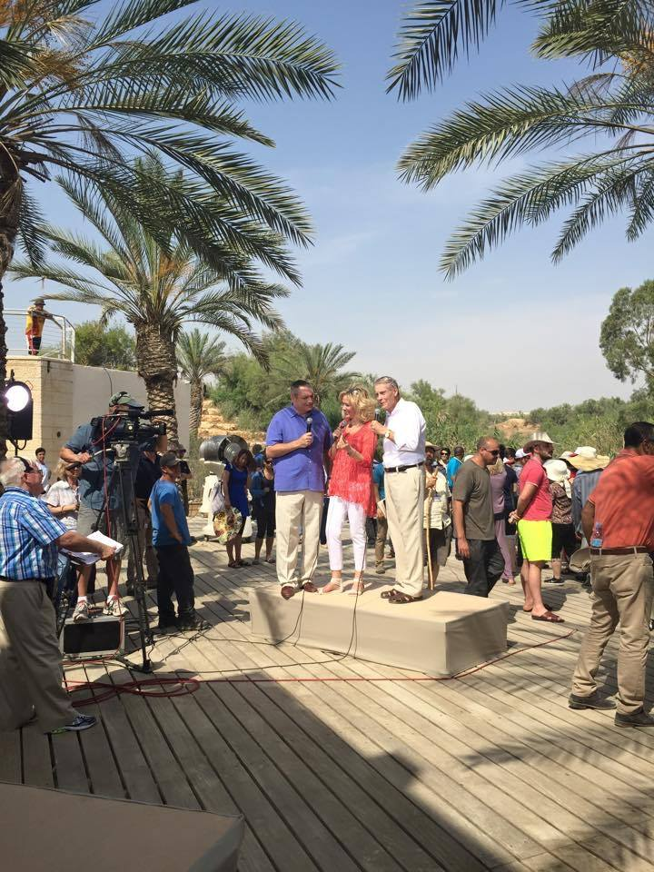 This is when I joined Ann and Ron during the live production from the Jordan River yesterday! We showed an old photo of my parents in this same location 90 years ago! (see photo below).